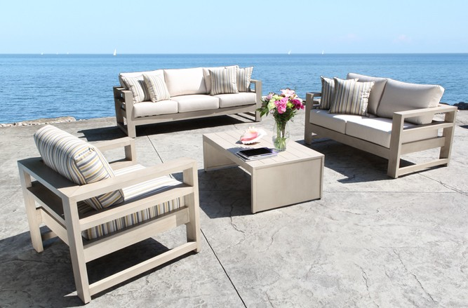 Cast Aluminum Patio Furniture - Aura Modern Luxury Patio Conversation Set in Toronto