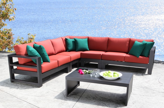 Outdoor Sectional Cast Aluminum Patio Furniture - Aura Modern Luxury Outdoor Sectional in Toronto