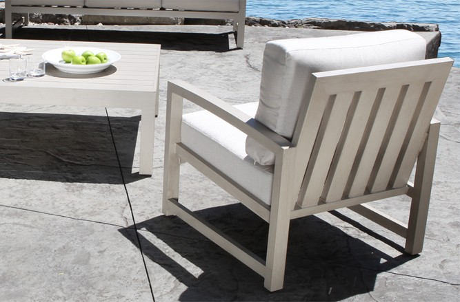 Cast Aluminum Patio Furniture - Venice Conversation Set with a Modern Teak Design in Toronto