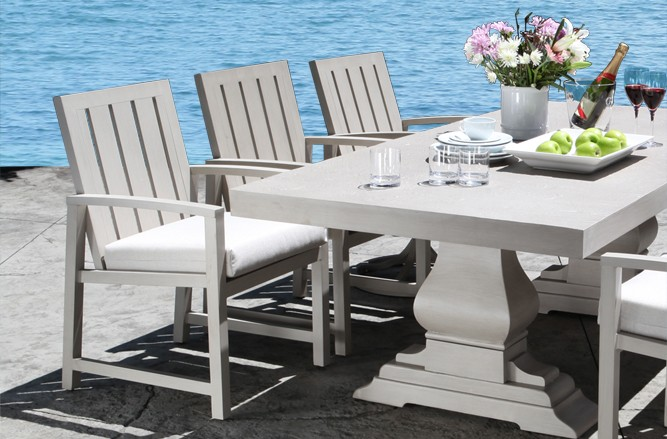 Cast Aluminum Patio Furniture - Venice Dining Set With a Modern Teak Design in Toronto