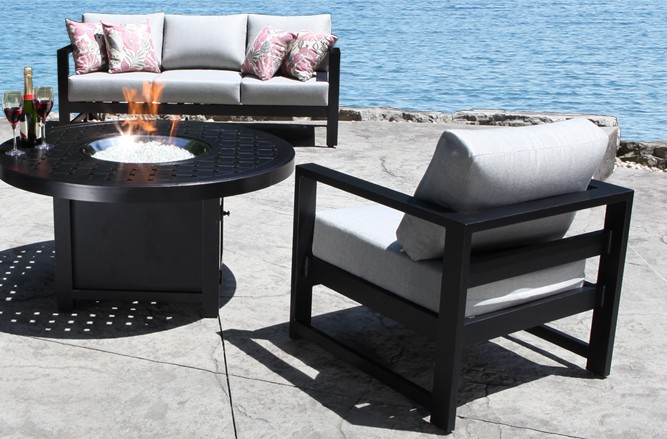 Cast Aluminum Patio Furniture - Wynn Patio Conversation Set with a Modern Teak Design in Toronto