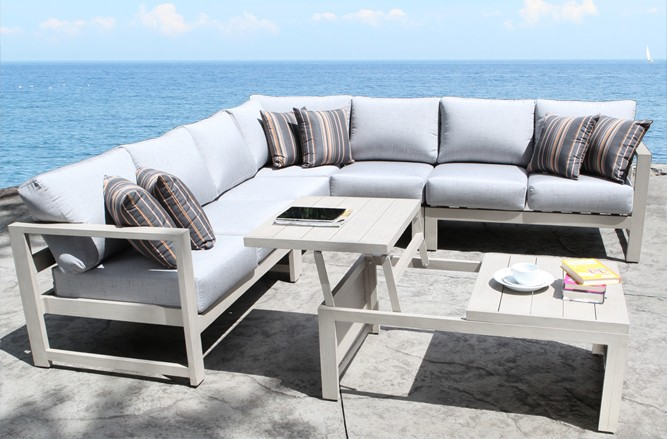 Cast Aluminum Patio Furniture - Wynn Outdoor Sectional with a Modern Teak Design in Toronto