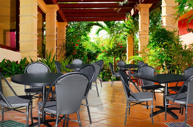 Commercial Restaurant Patio Furniture ? Harbor Cast Aluminum Patio Table with a Modern Design
