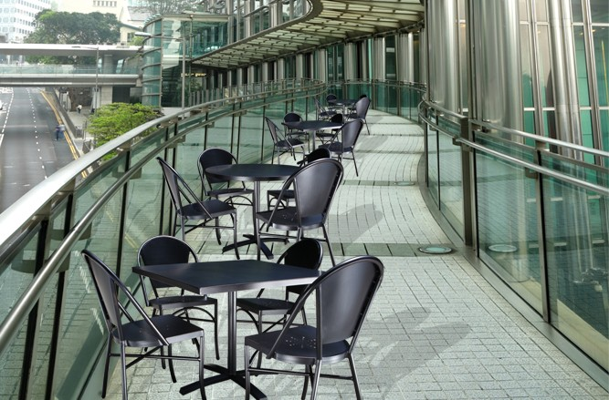 Commercial Restaurant Patio Furniture ? Harbor Cast Aluminum Patio Chair with a Modern Design