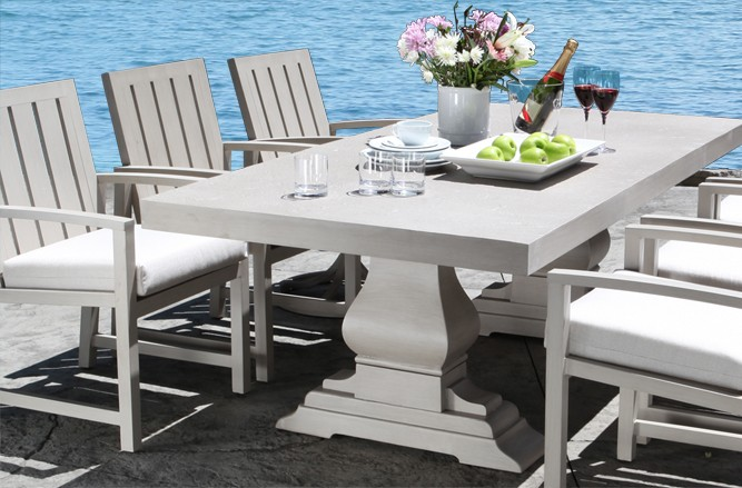 Cast Aluminum Patio Furniture - Venice Dining Table with a Modern Luxury Design