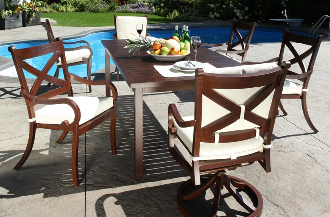 Cast Aluminum Patio Furniture - Elan Luxury Patio Dining Set
