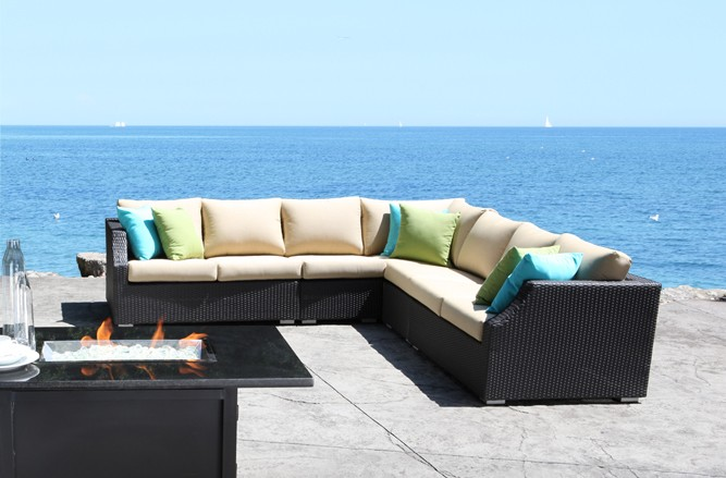 Resin Wicker Patio Furniture - Chelsea Round Outdoor Wicker Sectional Set With a Contemporary Design in Balcony Size