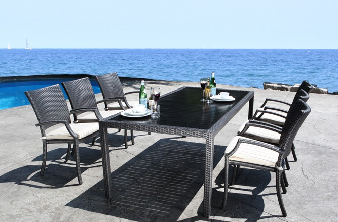 Resin Wicker Patio Furniture - Chelsea Dining Set with a Contemporary Design in Balcony Size