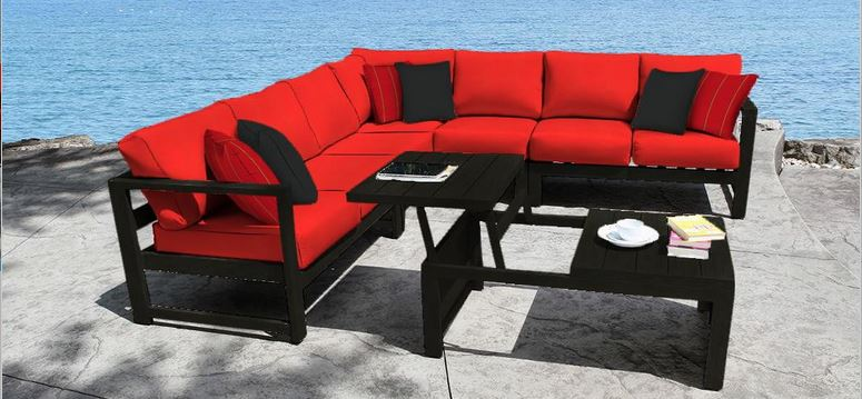 Cast Aluminum Patio Furniture Conversation Sets Wynn Sectional