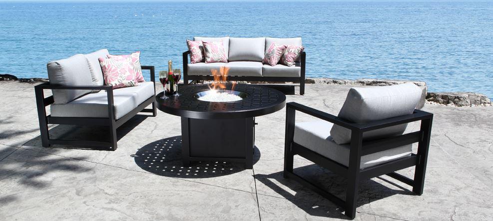 Cast Aluminum Patio Furniture Conversation Sets Wynn Sectional