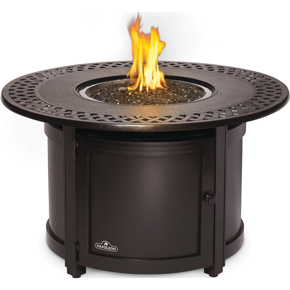 Victorian Round Patioflame Table Bishop S Centre Bishop S Outdoor Living Patio Furniture Fire Pits Umbrellas